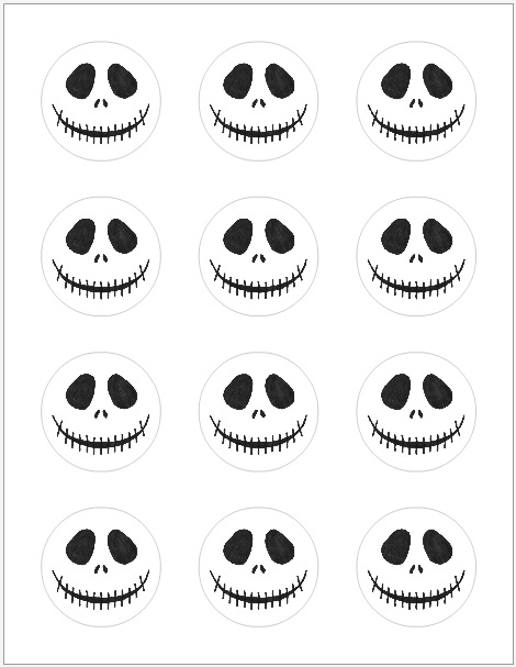 jack skellington round stickers on a sheet