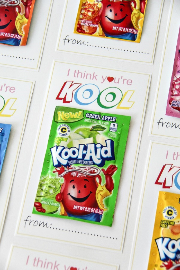 packets of colorful Kool Aid on printable Valentine's Day cards that say I think you're Kool.