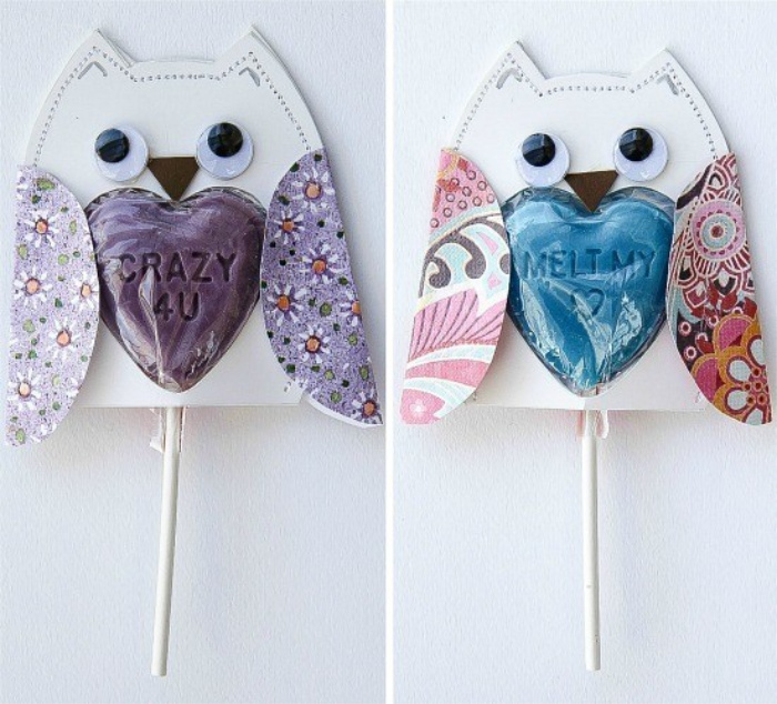 lollipops with paper owl covers that say crazy 4U and melt my heart