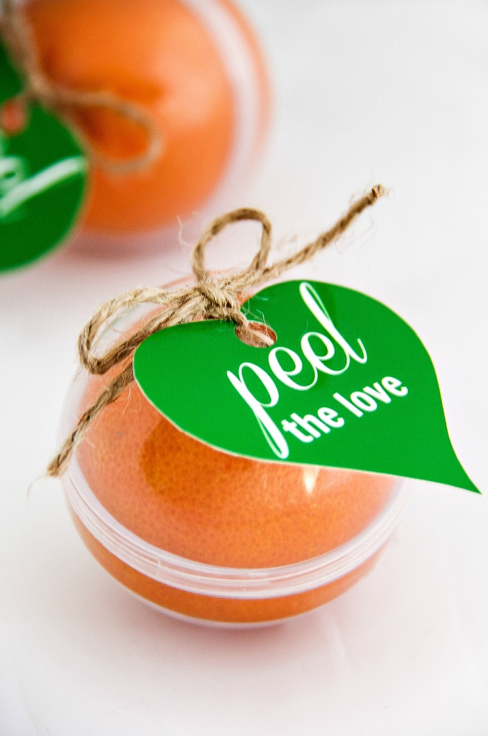 Peel the love labels on clementines for Valentine's Day