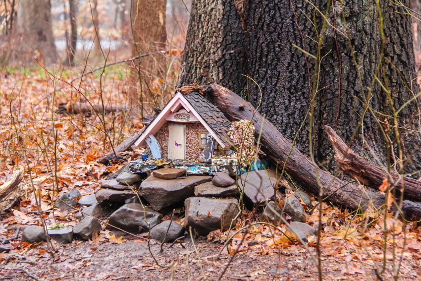 a fairy house on rocks in front of a tree with fall leaves all over the ground