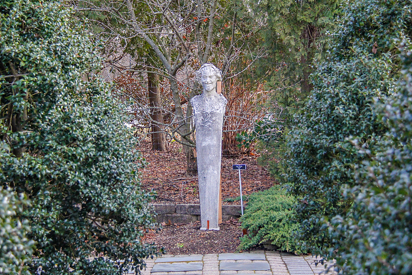 a statue in the garden at The Friends of The Frelinghuysen Arboretum