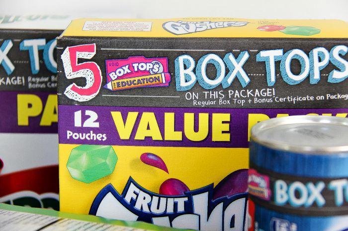 box tops information on a box of fruit gushers