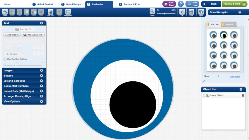 avery labels blue and black eyeball circle