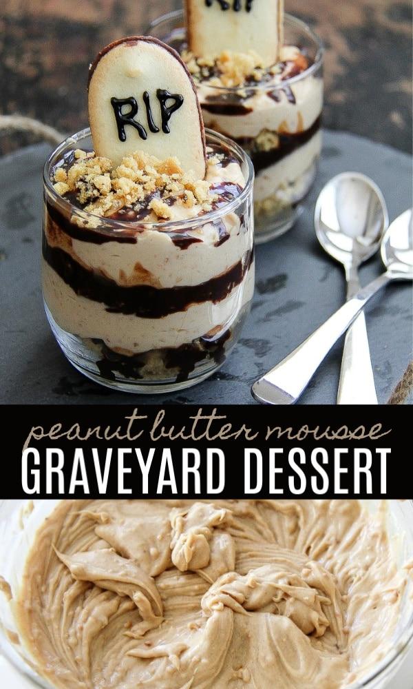 Peanut butter mousse Halloween dessert Pinterest image.
