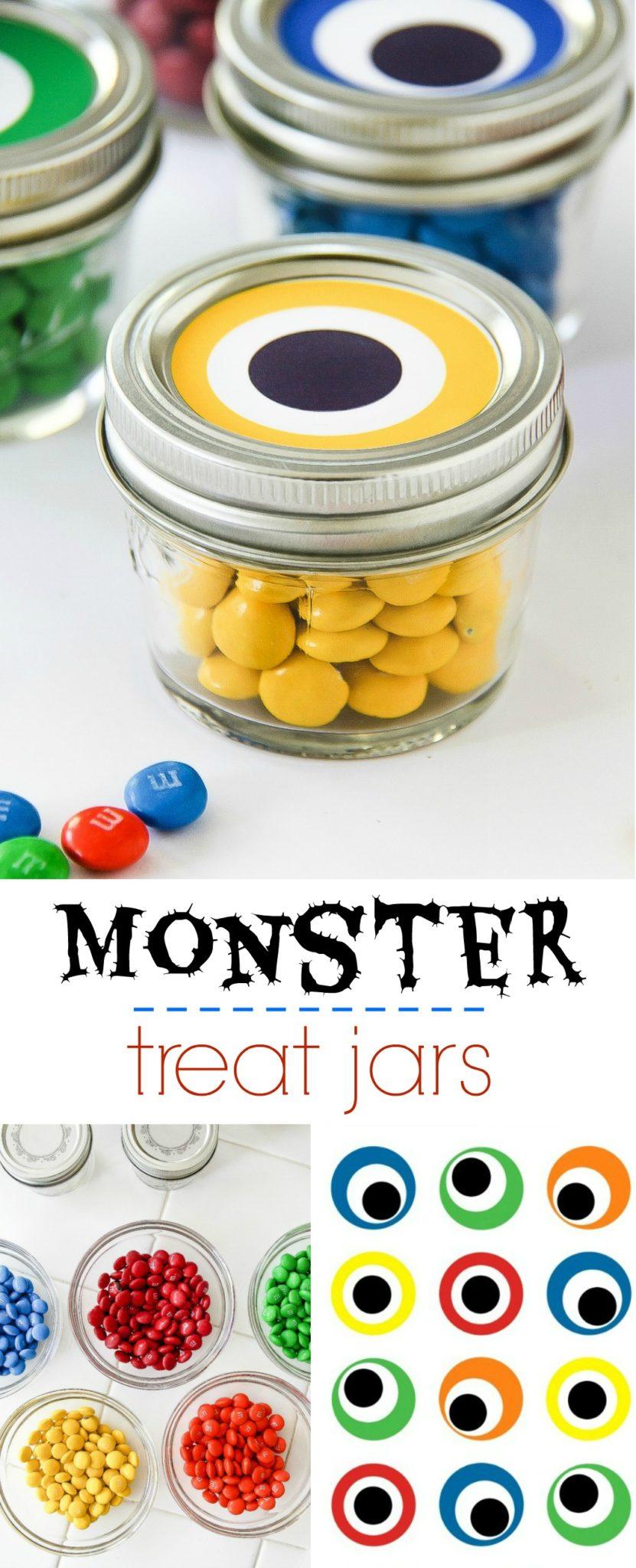 Monster party favor jars Pinterest image