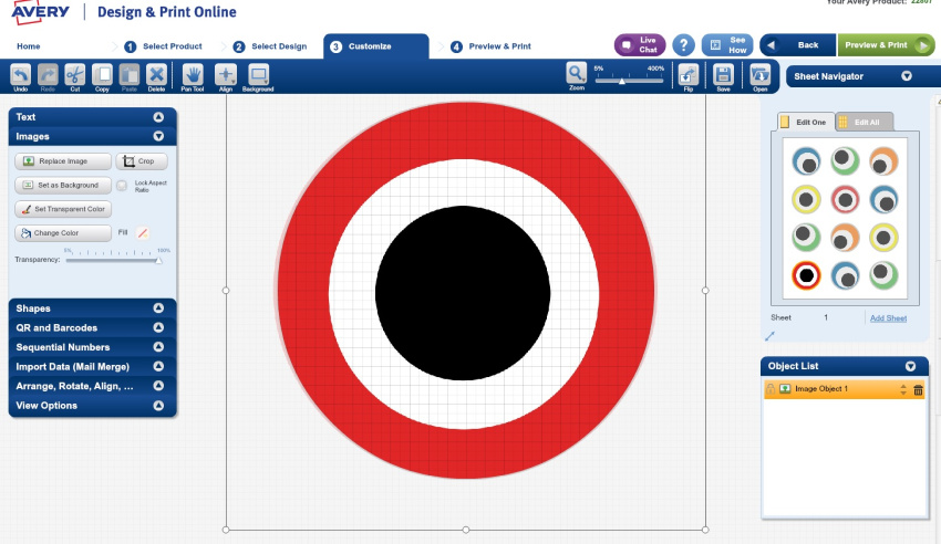 avery labels red and black eyeball template