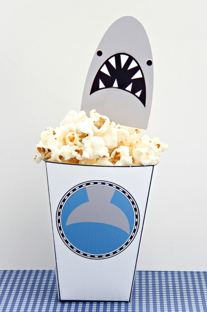 printable shark snack tubs with topper for shark week