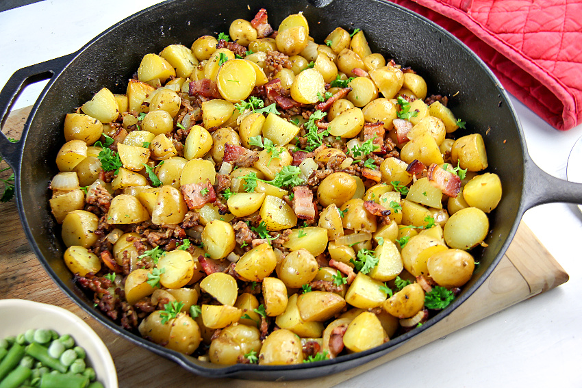 cast iron skillet warm potato salad