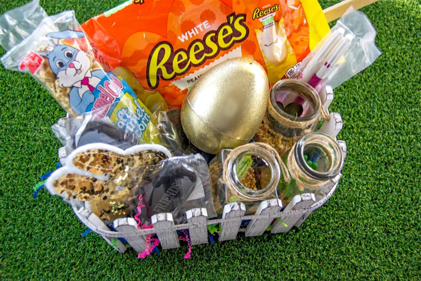 easter basket filled with succulents, inspirational stones, and candy for a teen girl