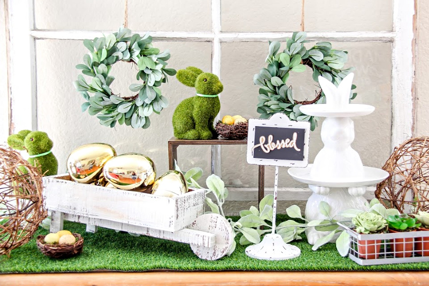 easter home decor staged on a table