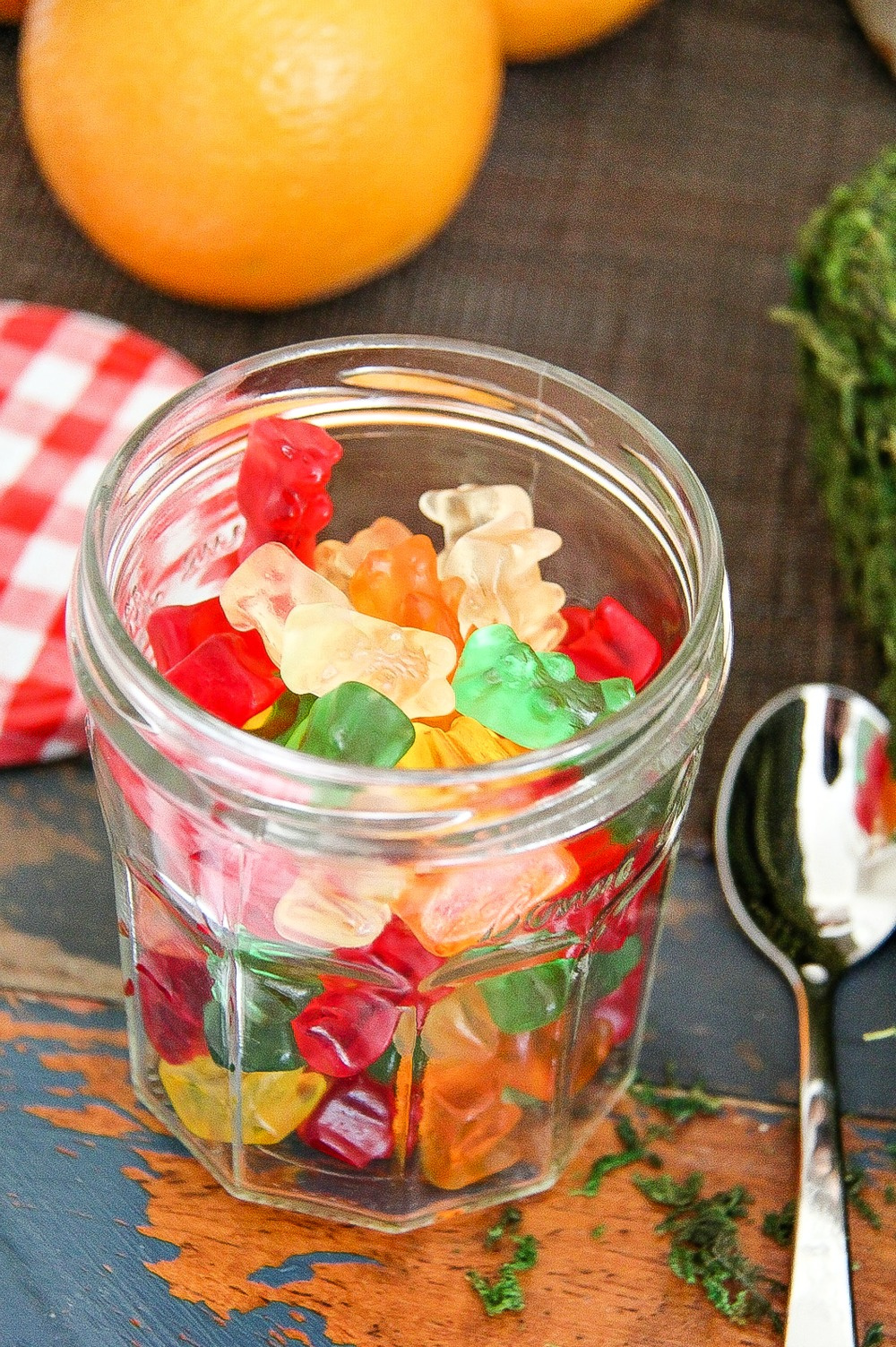 colorful gummy bears in a mason jar