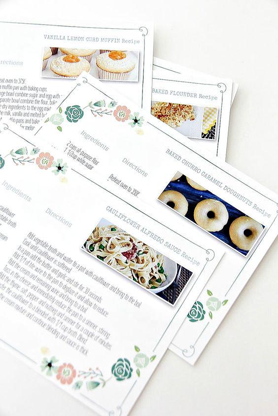printed recipe cards for a handmade recipe book