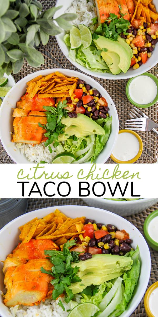 citrus chicken taco bowl Pinterest image