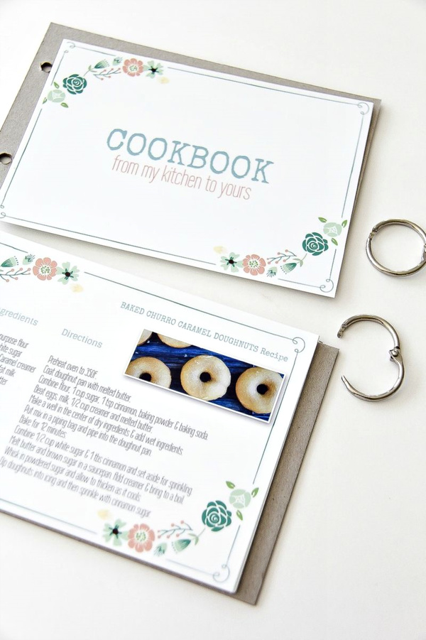 a handmade recipe book being put together