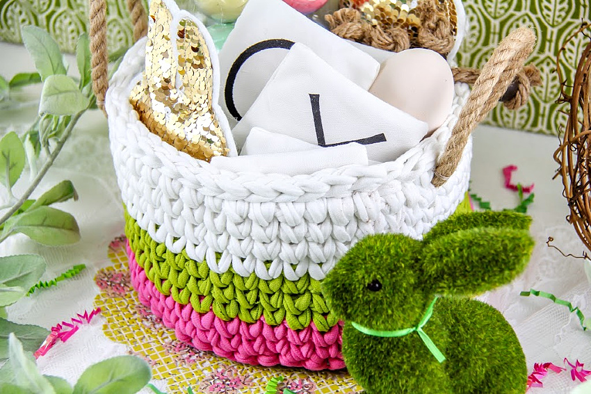 crochet easter basket in pink, green, and white