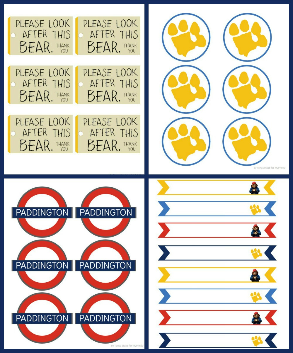 Paddington bear free printables