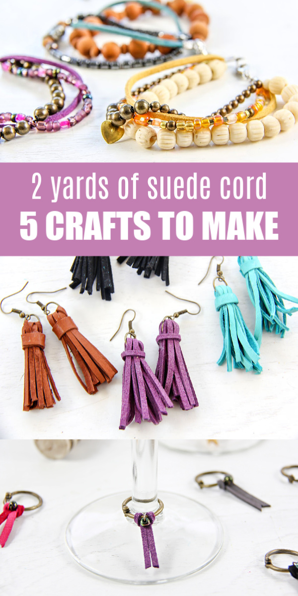 Suede cord crafts Pinterest image