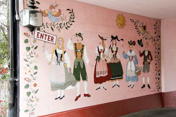 street art on a pink wall
