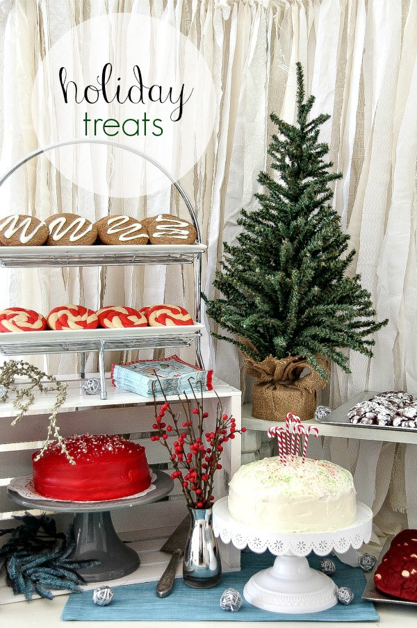 Christmas table with cookies and cake