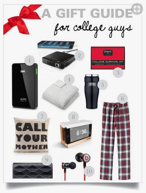 a round up of gift ideas for college guys