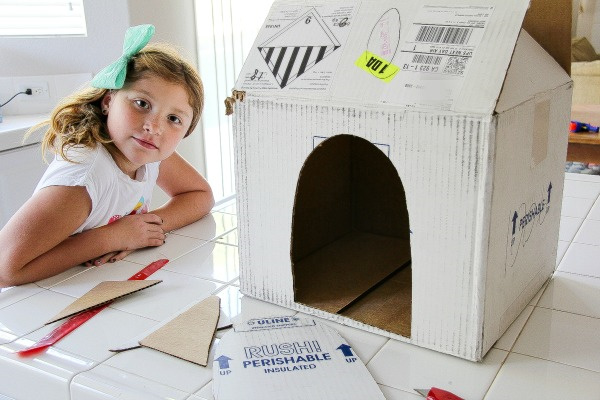 a white cardboard box with a hole cut out of it for a dog kennel