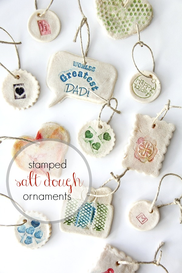 stamped salt dough ornaments made by kids