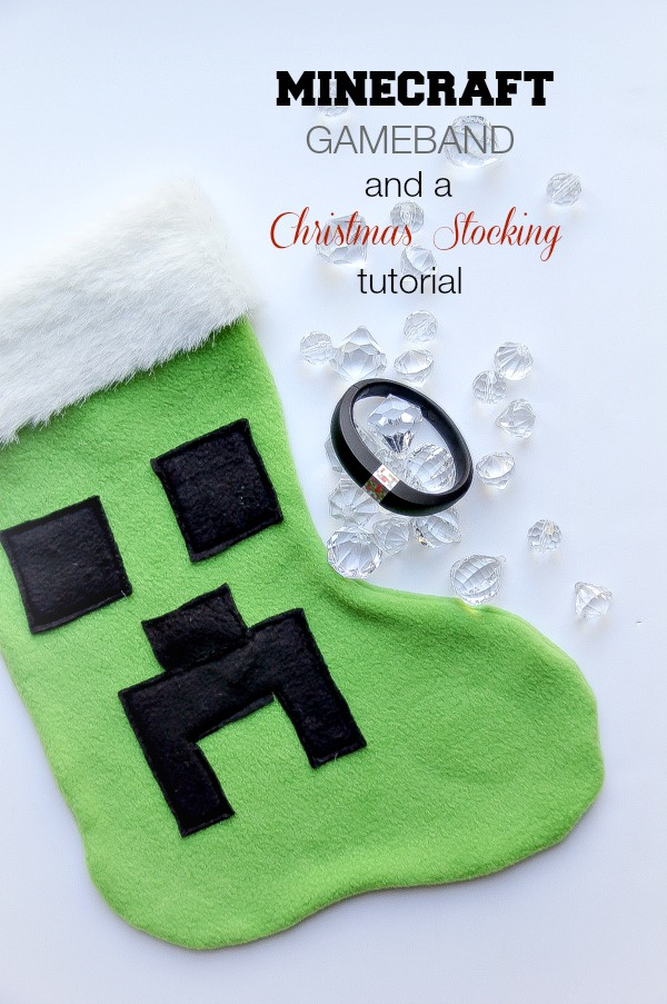 green and black minecraft christmas stocking