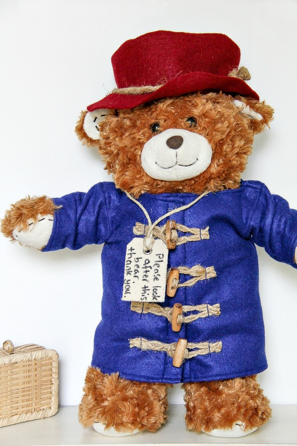 a build-a-bear dressed up like Paddington in a handmade outfit