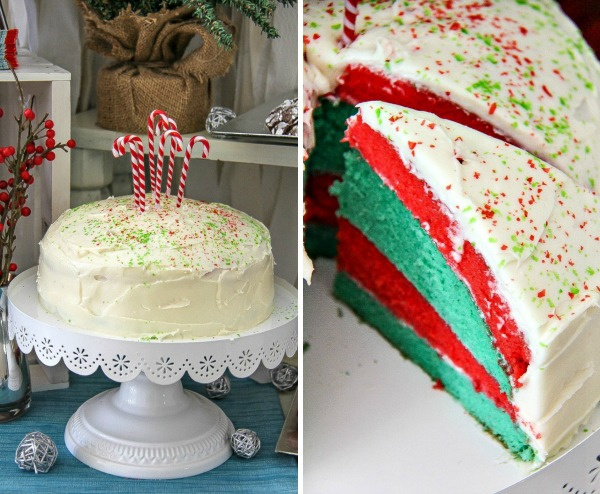 red and green layered christmas cake