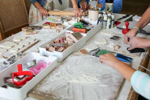 girls making salt dough ornaments