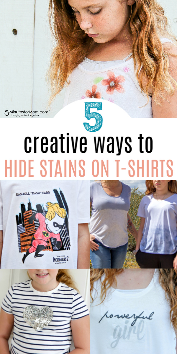 creative ways to hide stains on a t-shirt Pinterest image