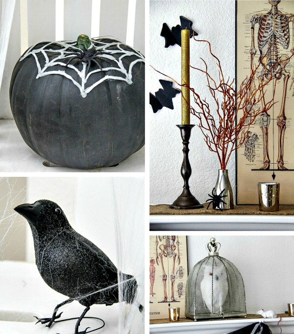 a college of halloween home decor ideas in black and white