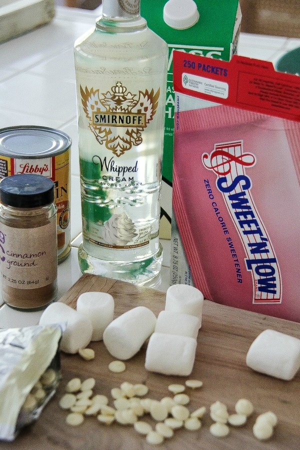 ingredients including vodka to make an alcoholic hot chocolate