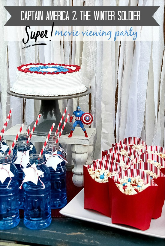 Captain America movie night party food including popcorn mix, drinks, and cake