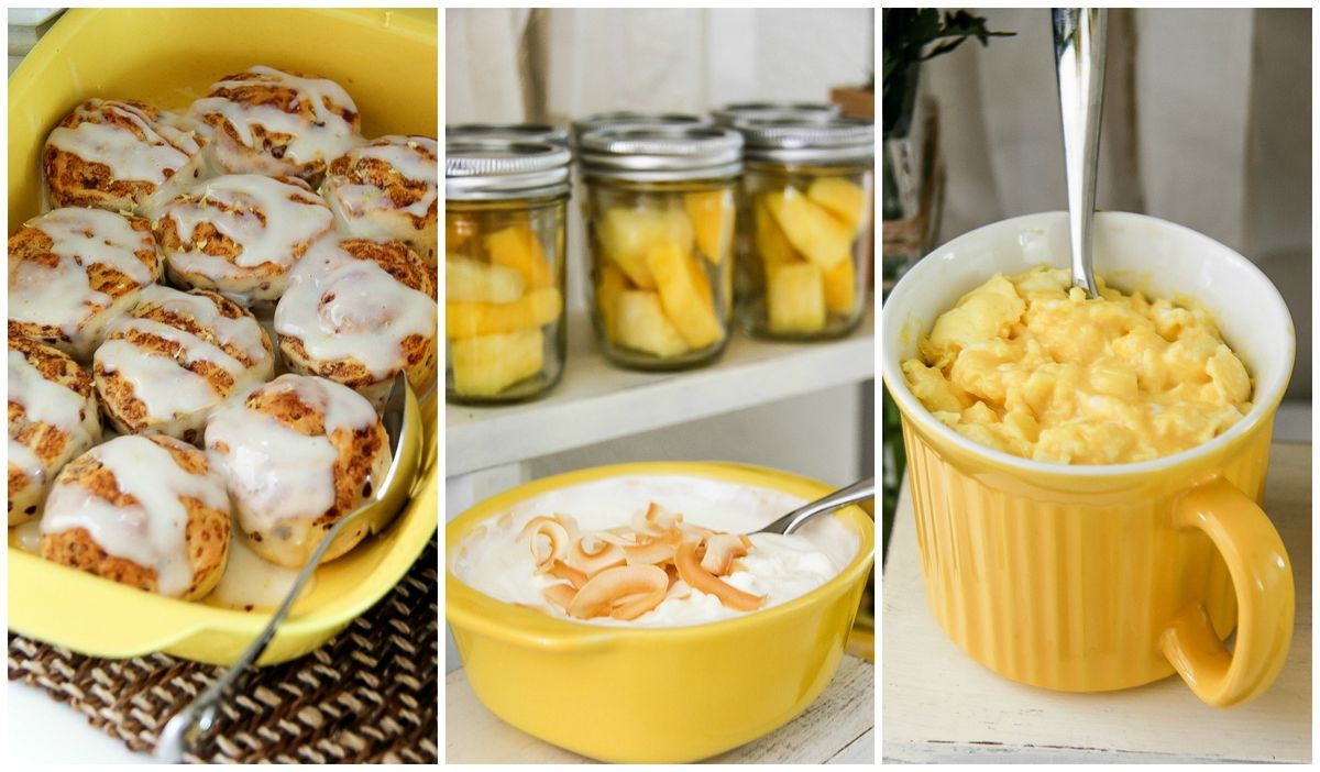 a collage of yellow breakfast foods in yellow dishes