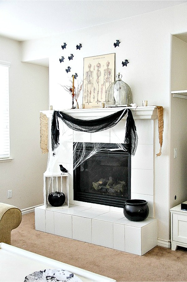 black and white Halloween fireplace decorations