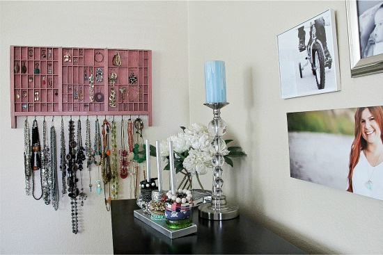 handmade organizers for jewelry in a bedroom