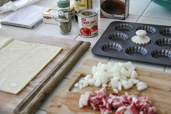 ingredients and tools needed to make meat pies