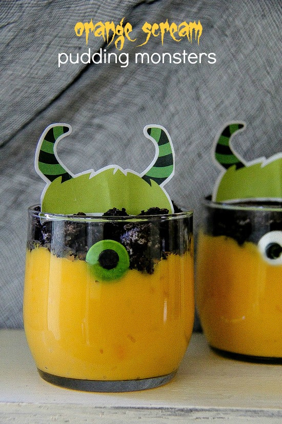 orange pudding monsters for a Halloween party