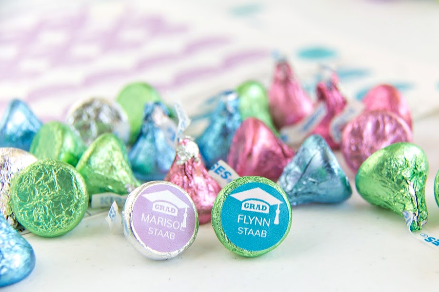 Hershey's kisses with personalized graduation labels on them