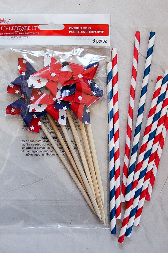 pinwheels and red blue and white striped straws