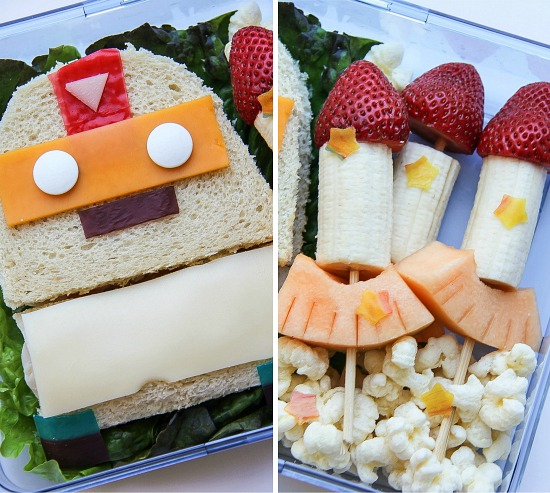 robot and rocket lunch for kids inspired by the Mighty Robot series