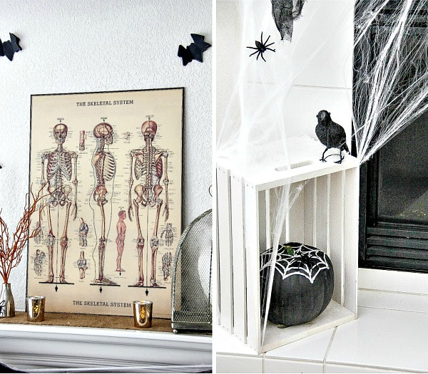 vintage skeletal system poster for halloween fireplace mantel