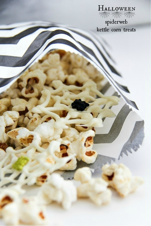 black and white party bags with kettle corn and white chocolate spiderwebs