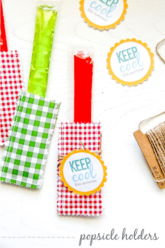 red and green popsicles inside oilcloth holders with keep cool tags