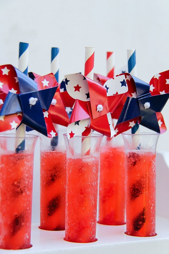 test tubes with red slush and red white and blue pinwheel straws