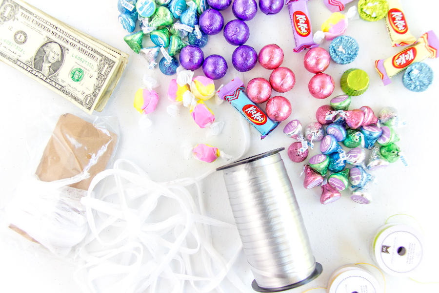 everything you need to make a candy and money graduation lei