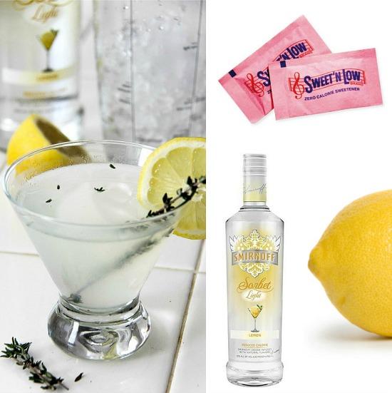 ingredients to make a lemon drop cocktail