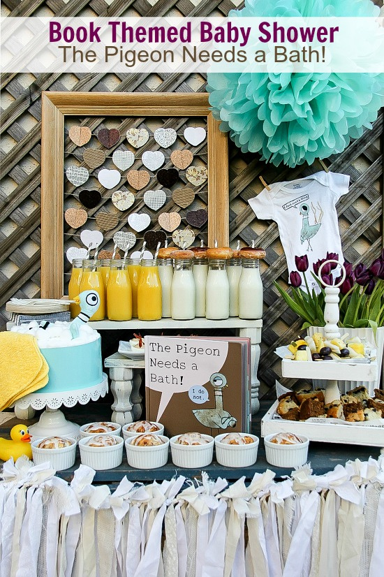 Mo Willems book themed baby shower brunch table and gift ideas